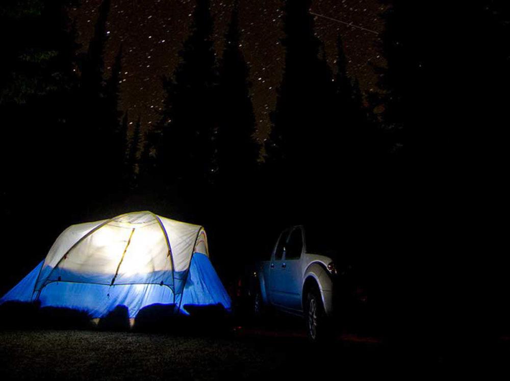 Camp under starry skies