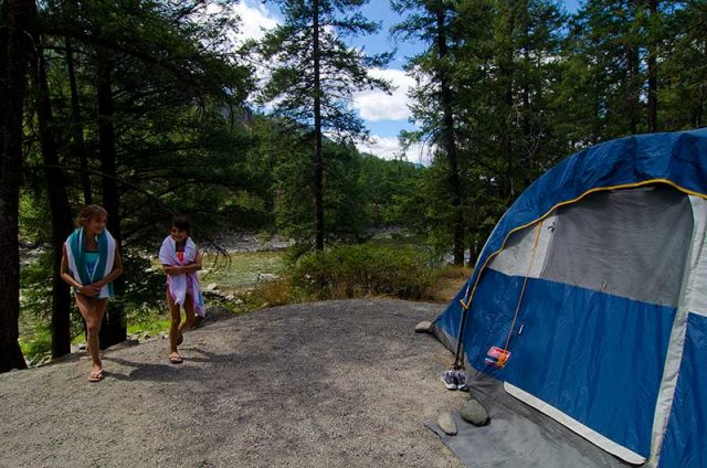 Tent camping at a provincial park in the Similkameen
