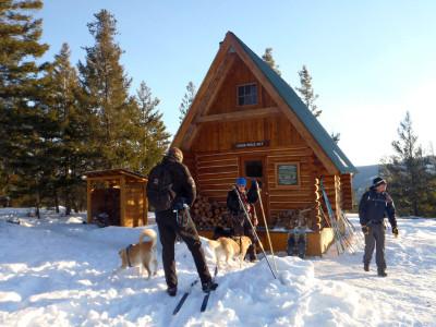 Ski hut at China Ridge in the winter in Similkameen Valley