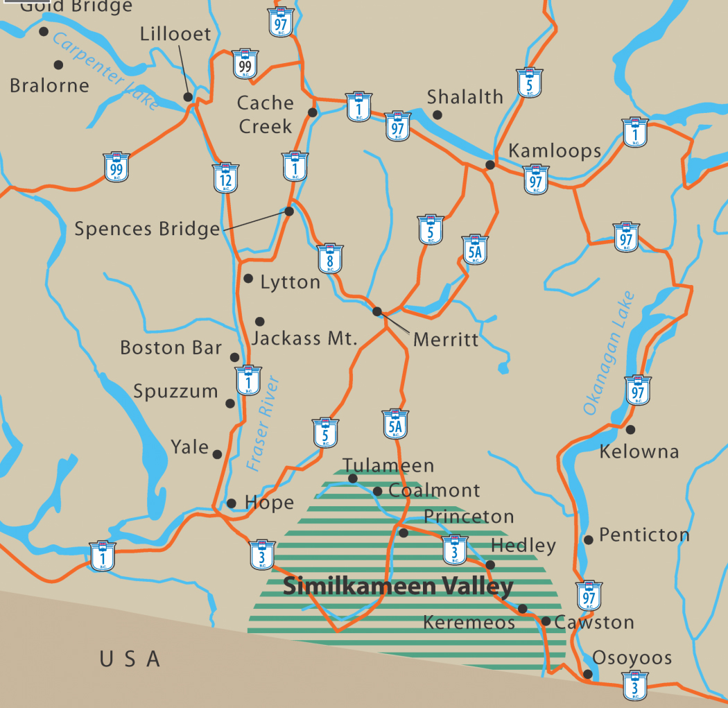 Southern Bc Map Map | Find your way to the Similkameen Valley Southern Bc Map