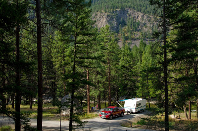 Camping by the Similkameen River in the summer